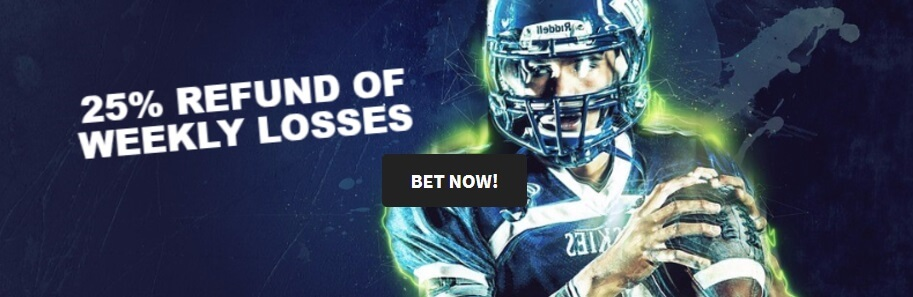 Quinn's Quarterback - 25% refund of weekly losses - Check under promotions on Quinnbet's website