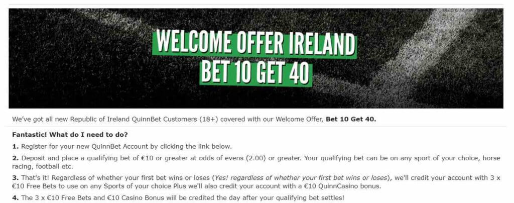 Welcome Offer Ireland Bet 10 Get 40