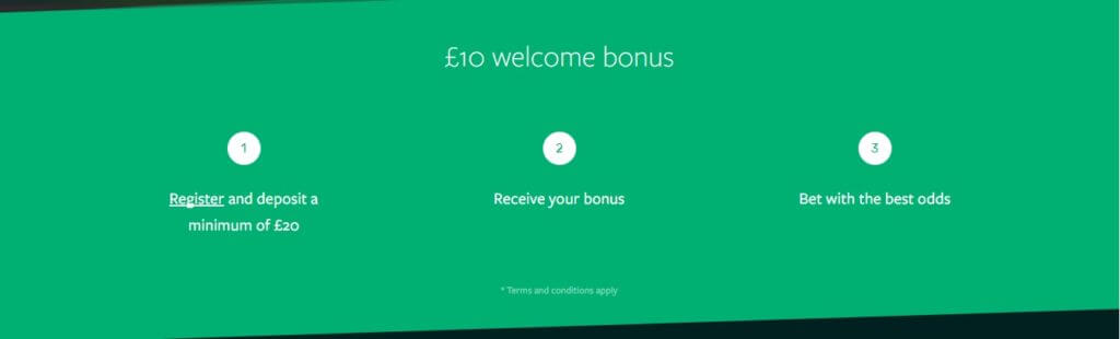 A screenshot of the Smarkets promotion code offer - £10 Welcome bonus - Register and deposit a minimum of £20 - Receive your bonus - Bet with the best odds