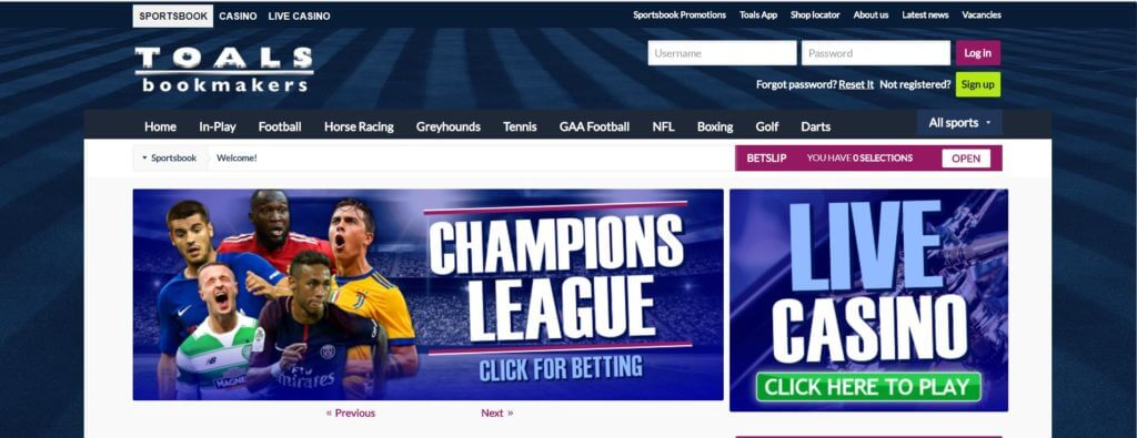 A photo of the Toals Bookmakers homepage