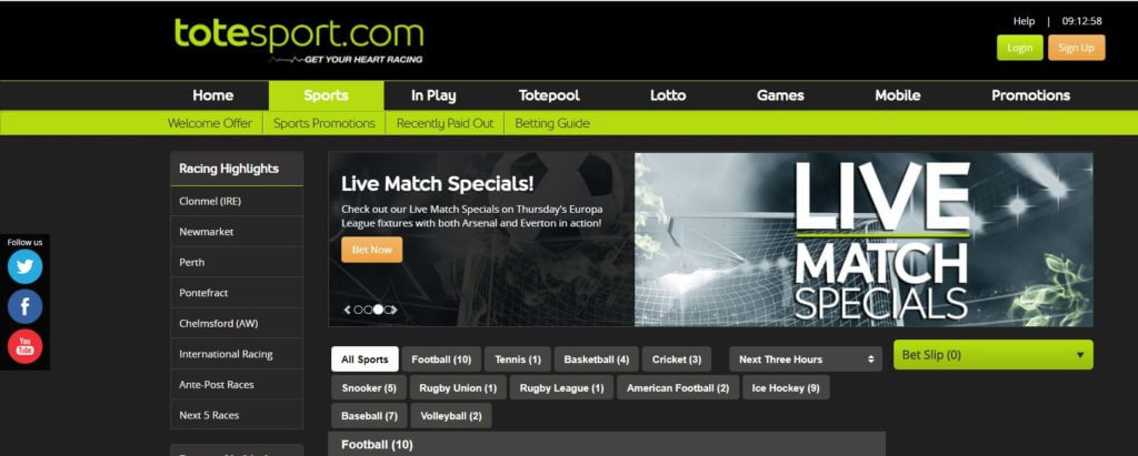 ToteSport Website Navigation