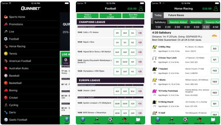A screenshot of the quinnbet mobile app functionalities