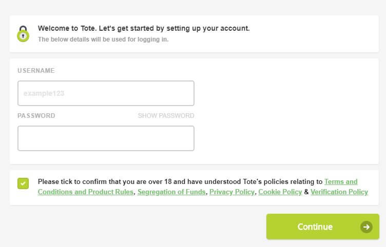 A screenshot of the Totesport promo code registration